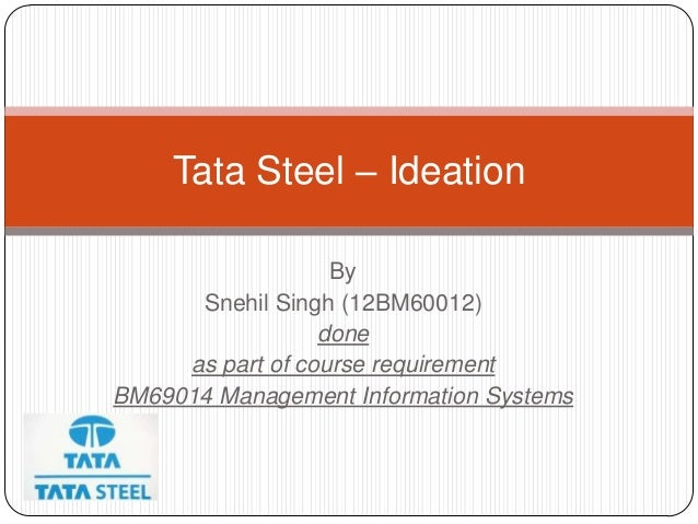 Tata Steel – Ideation                   By      Snehil Singh (12BM60012)                  done     as part of course requi...