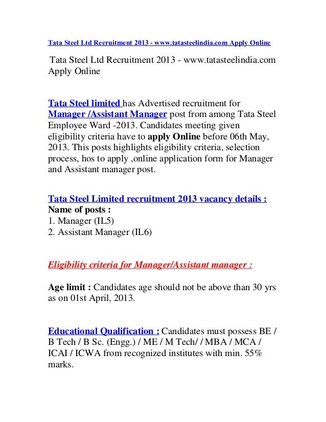 Tata Steel Ltd Recruitment 2013 - www.tatasteelindia.com Apply OnlineTata Steel Ltd Recruitment 2013 - www.tatasteelindia....