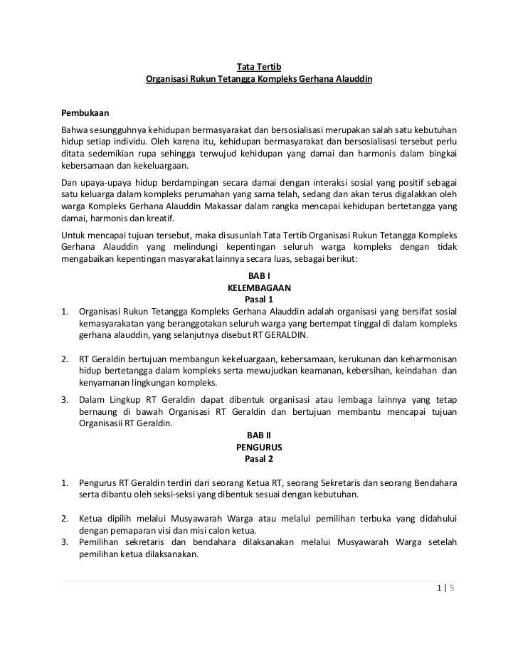 Tata Tertib                     Organisasi Rukun Tetangga Kompleks Gerhana AlauddinPembukaanBahwa sesungguhnya kehidupan b...