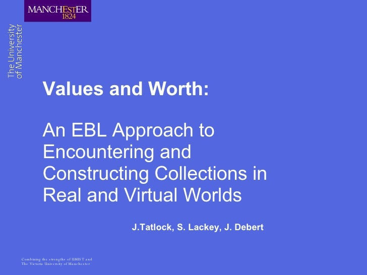 Values and Worth: An EBL Approach to Encountering and Constructing Collections in Real and Virtual Worlds J.Tatlock, S. La...