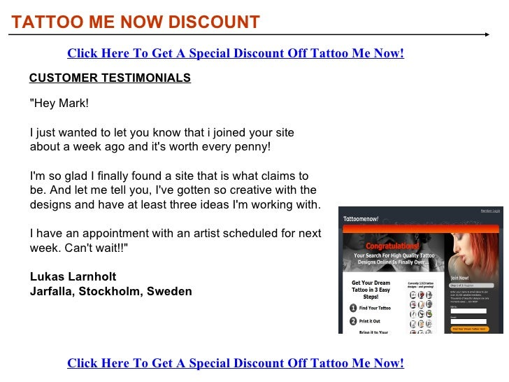 Tattoo Me Now Discount