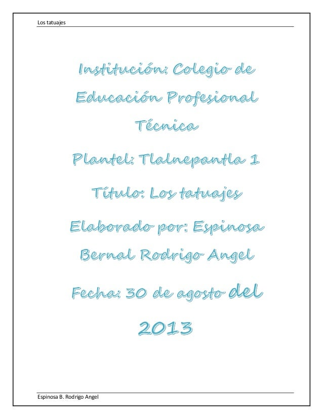 Los tatuajes Espinosa B. Rodrigo Angel