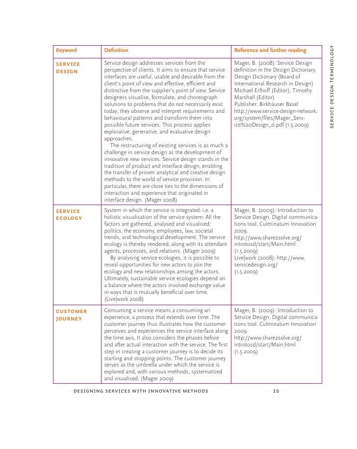 Service Design Terminology, Service Design Methods