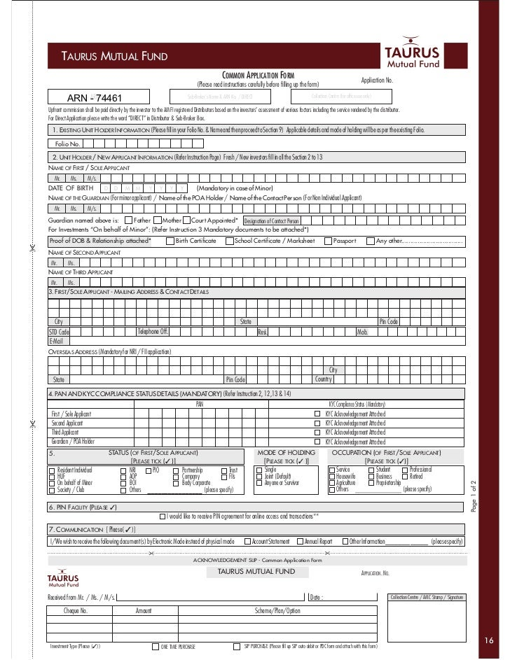 Taurus Mutual Fund Common Application Form With Kim