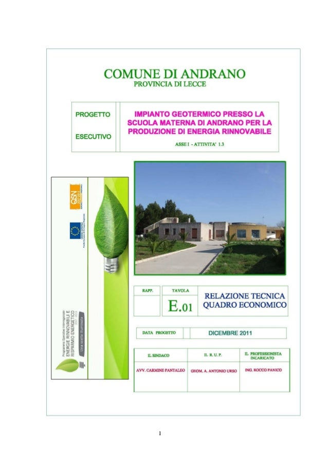 Relazione tecnica e quadro economico impianto geotermico Andrano