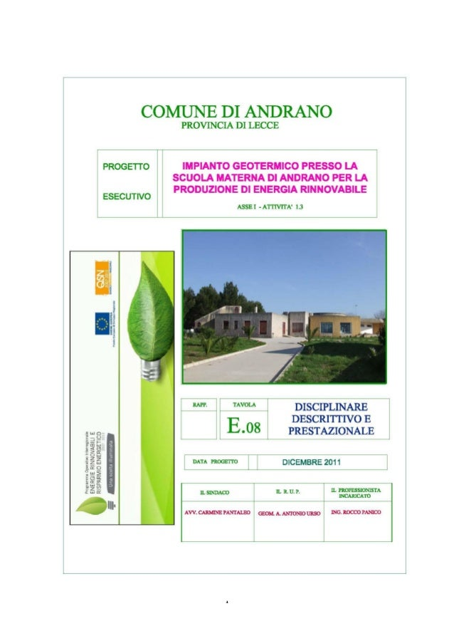 Disciplinare descrittivo e prestazionale impianto geotermico Andrano