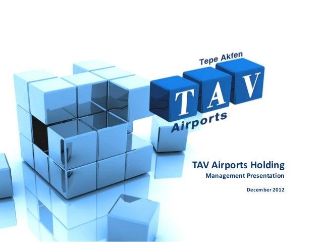 TAV Airports Holding  Management Presentation             December 2012