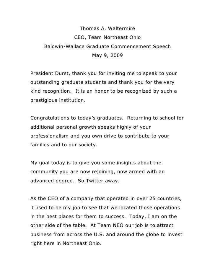 Thomas A. Waltermire                    CEO, Team Northeast Ohio      Baldwin-Wallace Graduate Commencement Speech        ...