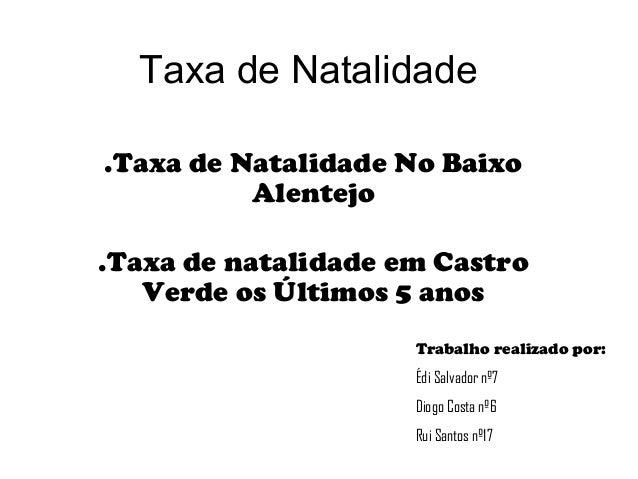 Taxa de Natalidade .Taxa de Natalidade No Baixo Alentejo .Taxa de natalidade em Castro Verde os Últimos 5 anos Trabalho re...