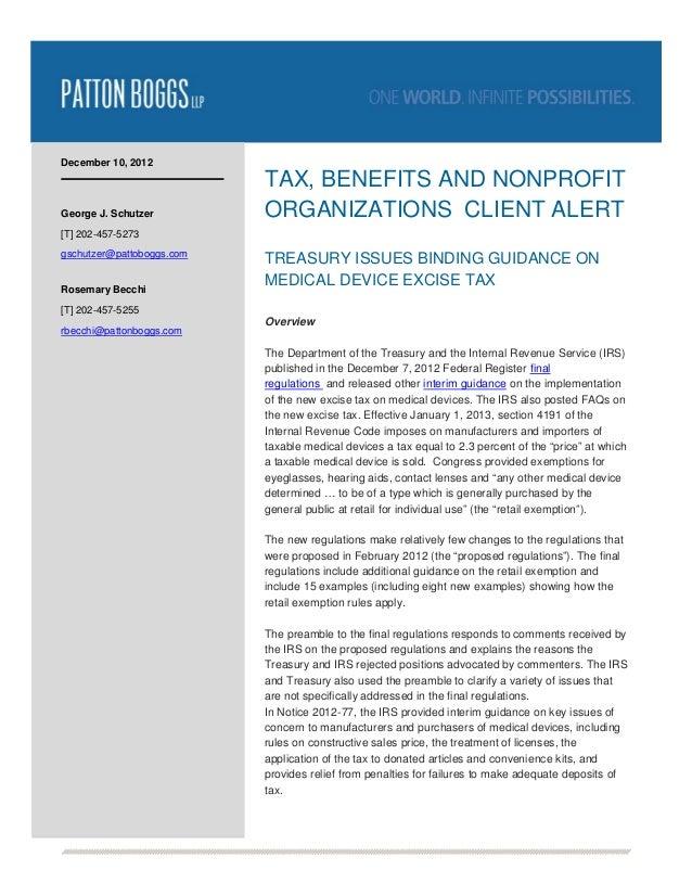 December 10, 2012                           TAX, BENEFITS AND NONPROFITGeorge J. Schutzer         ORGANIZATIONS CLIENT ALE...