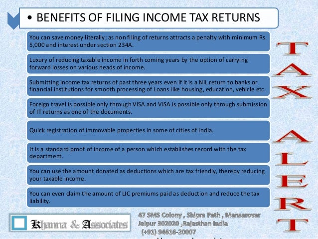 benefits of filing your income tax The pros and cons of preparing your own taxes and if you're up to the challenge, the benefits of filing your own return are often well worth the effort.