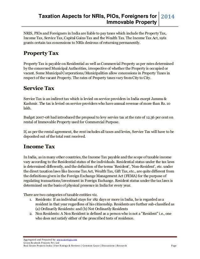 Taxation Aspects for NRIs, PIOs, Foreigners for Immovable Property 2014 Aggregated and Prepared by: www.nirrtigo.com Green...