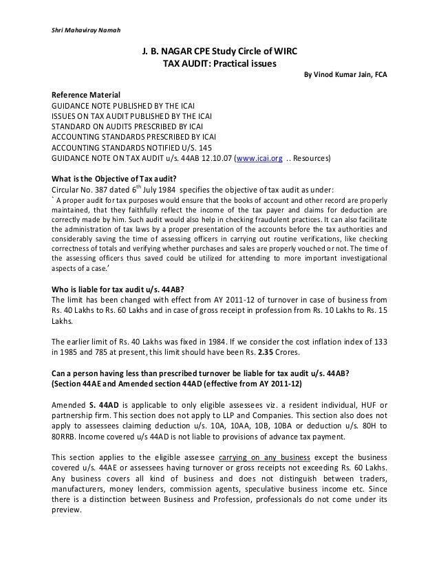 Shri Mahaviray Namah J. B. NAGAR CPE Study Circle of WIRC TAX AUDIT: Practical issues By Vinod Kumar Jain, FCA Reference M...