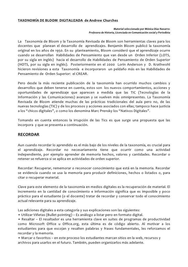 TAXONOMÍA DE BLOOM DIGITALIZADA de Andrew Churches                                                                 Materia...