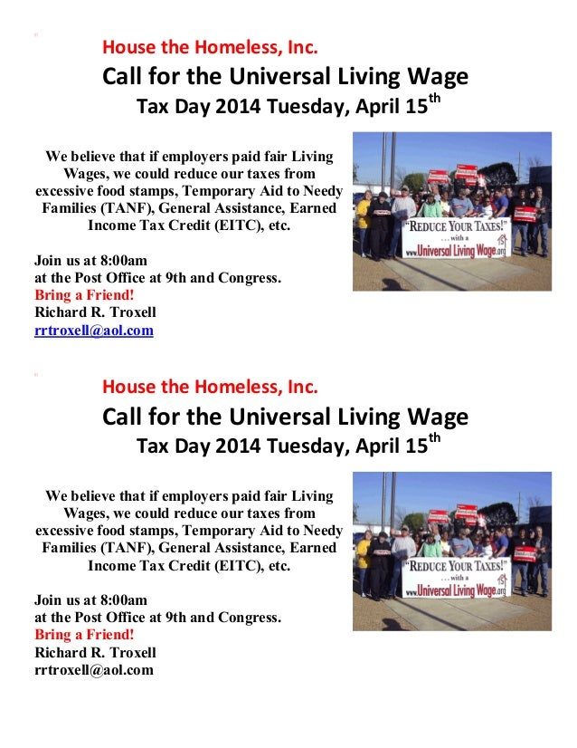 Call for the Universal Living Wage Tax Day 2014 Tuesday, April 15th