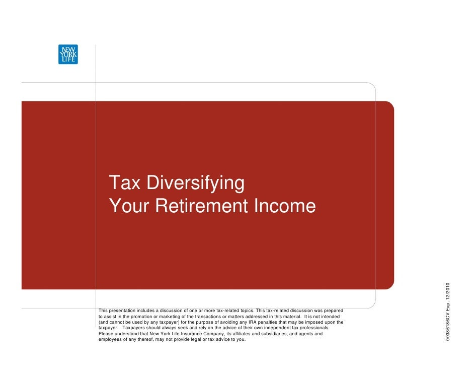 Tax Diversifiying Your Retirement Income Ppt 14400 0409 F
