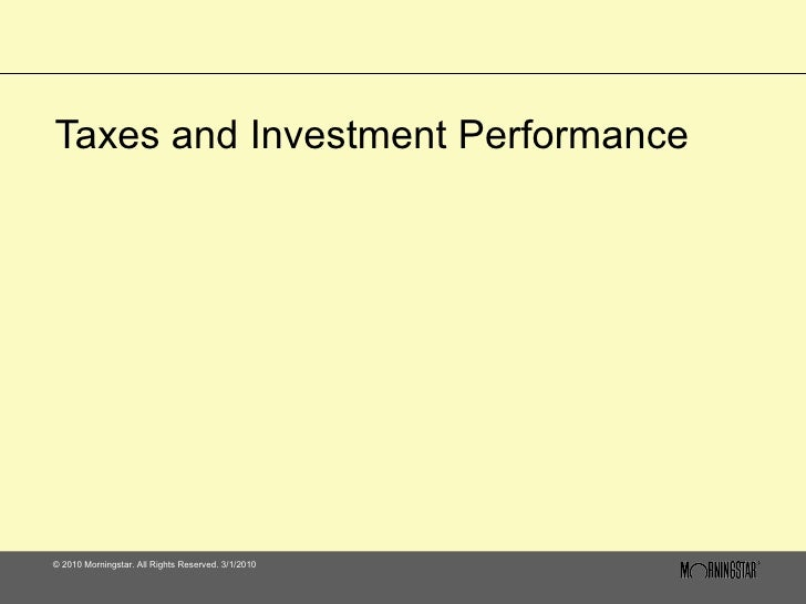 Taxes and Investment Performance