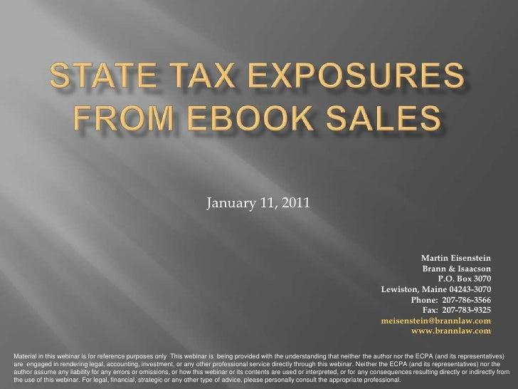 PUBu Online Webinar: Tax Exposure From eBook Sales