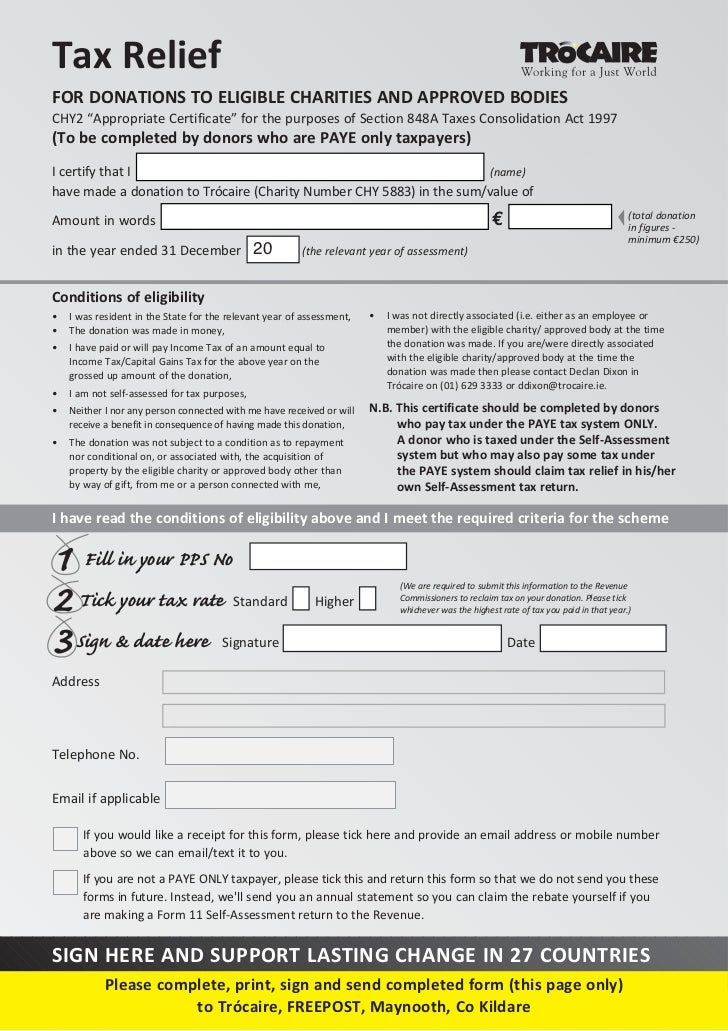 Trócaire Taxback Mailing 2011 - Tax Form CHY 2