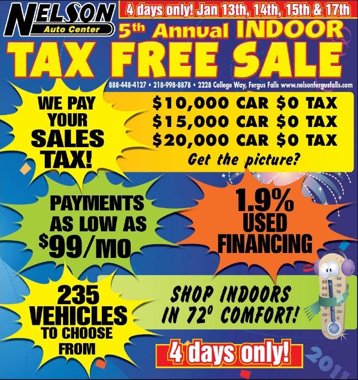 Tax Free Sale Special – Nelson Auto Center Fergus Falls MN