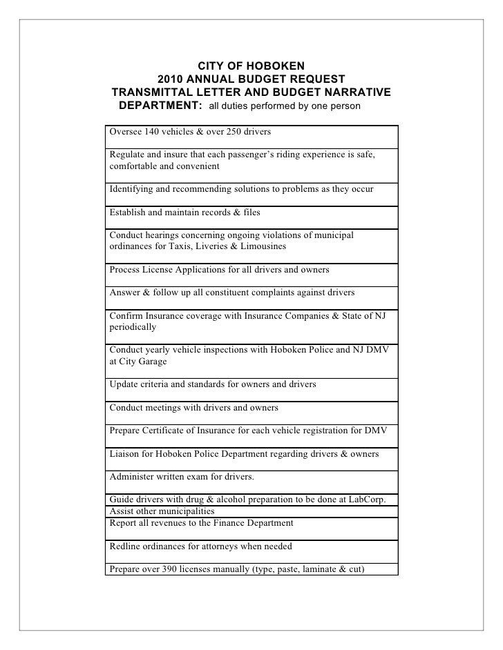 CITY OF HOBOKEN       2010 ANNUAL BUDGET REQUEST TRANSMITTAL LETTER AND BUDGET NARRATIVE  DEPARTMENT: all duties performed...