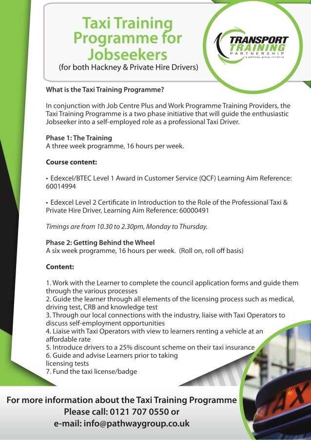Taxi training programme for jobseekers