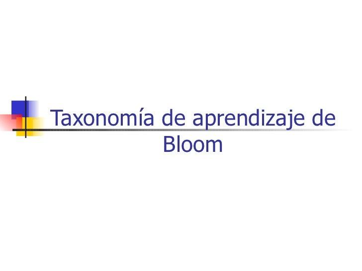 Taxonomias aprendizaje