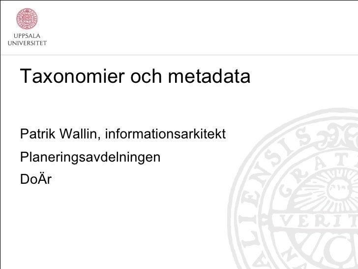 En introduktion till taxonomier och metadata, av Patrik Wallin