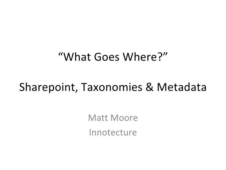 Sharepoint & Taxonomy