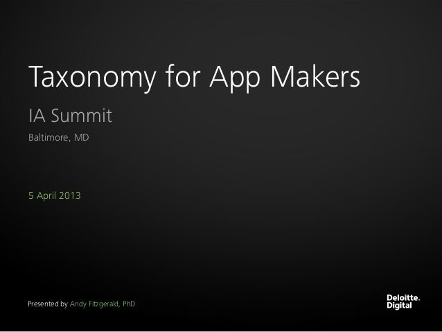 Taxonomy for App MakersIA SummitBaltimore, MD5 April 2013Presented by Andy Fitzgerald, PhD