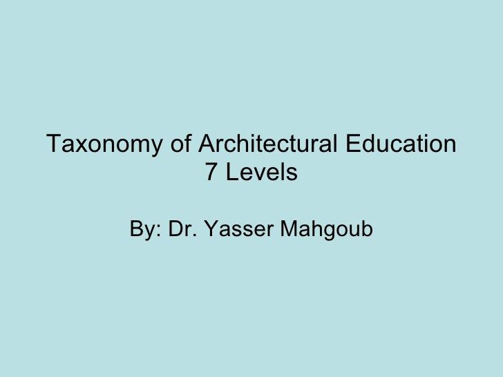Taxonomy of Architectural Education 7 Levels By: Dr. Yasser Mahgoub