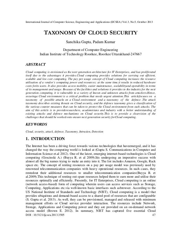 Taxonomy of cloud security