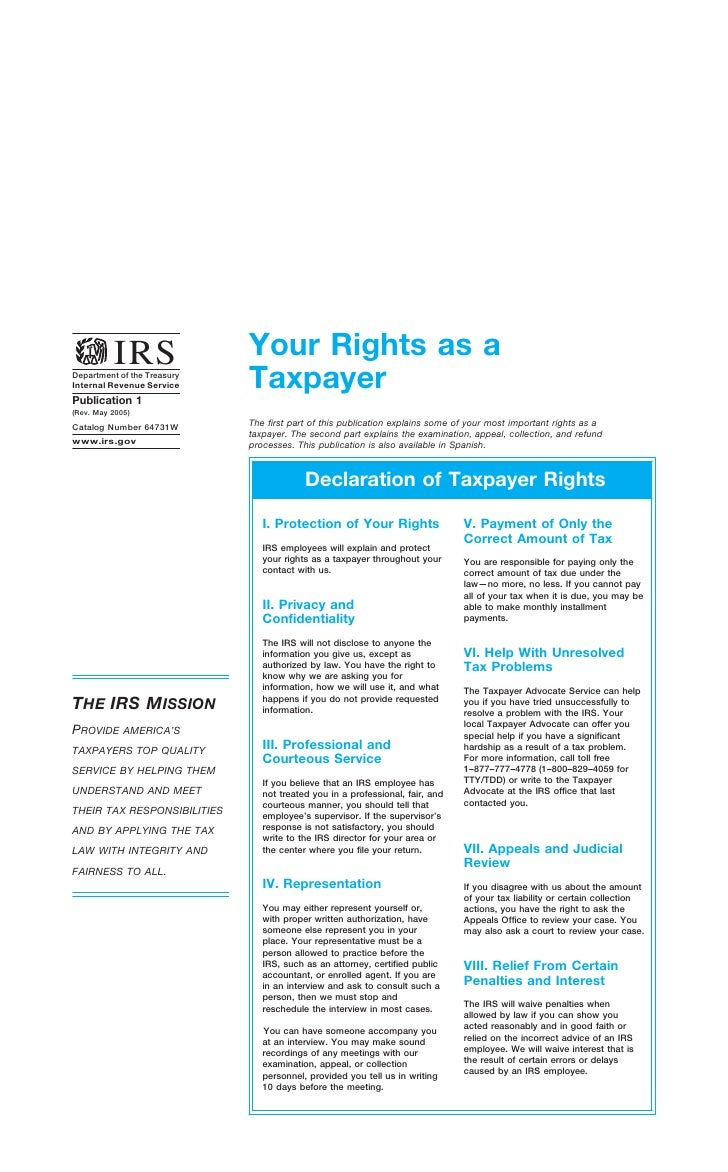 Your Rights as a           IRS                              Taxpayer Department of the Treasury Internal Revenue Service P...