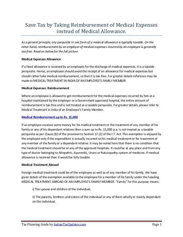 Tax Saving On Medical Reibursement Under Section 17 2