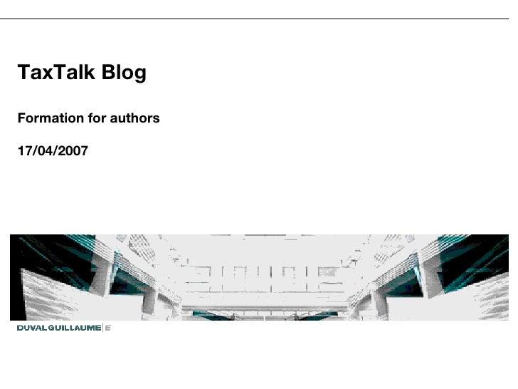 Taxtalk presentation for authors