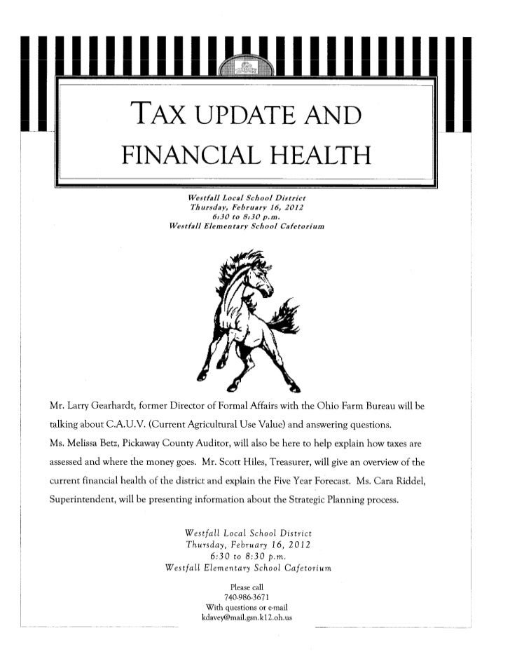 TAX UPDATE AND                   FINANCIAL HEALTH                                   Westfall Local School District        ...
