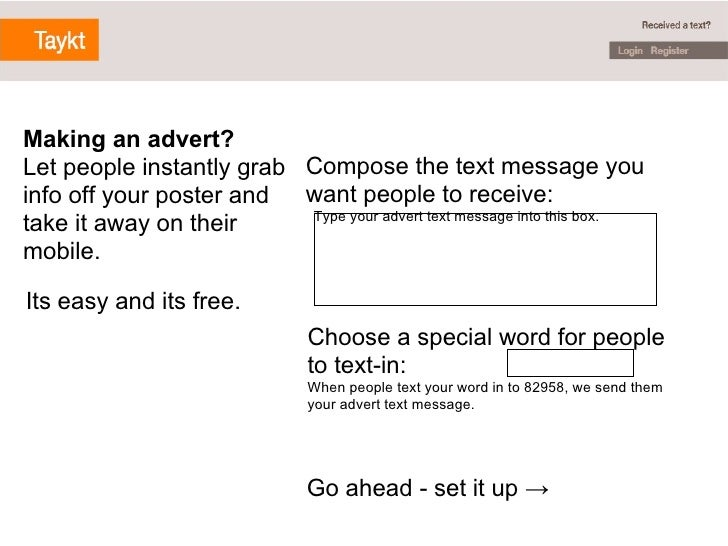 Compose the text message you want people to receive:    Type your advert text message into this box. Choose a special word...