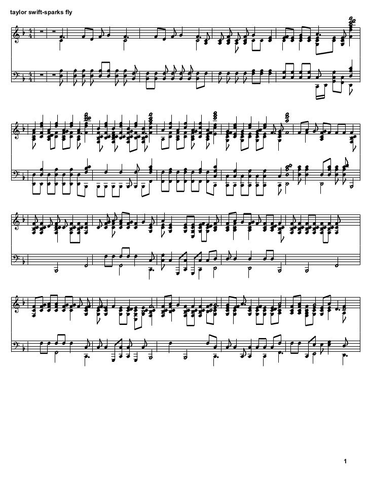 Taylor Swift - Sparks Fly sheet music
