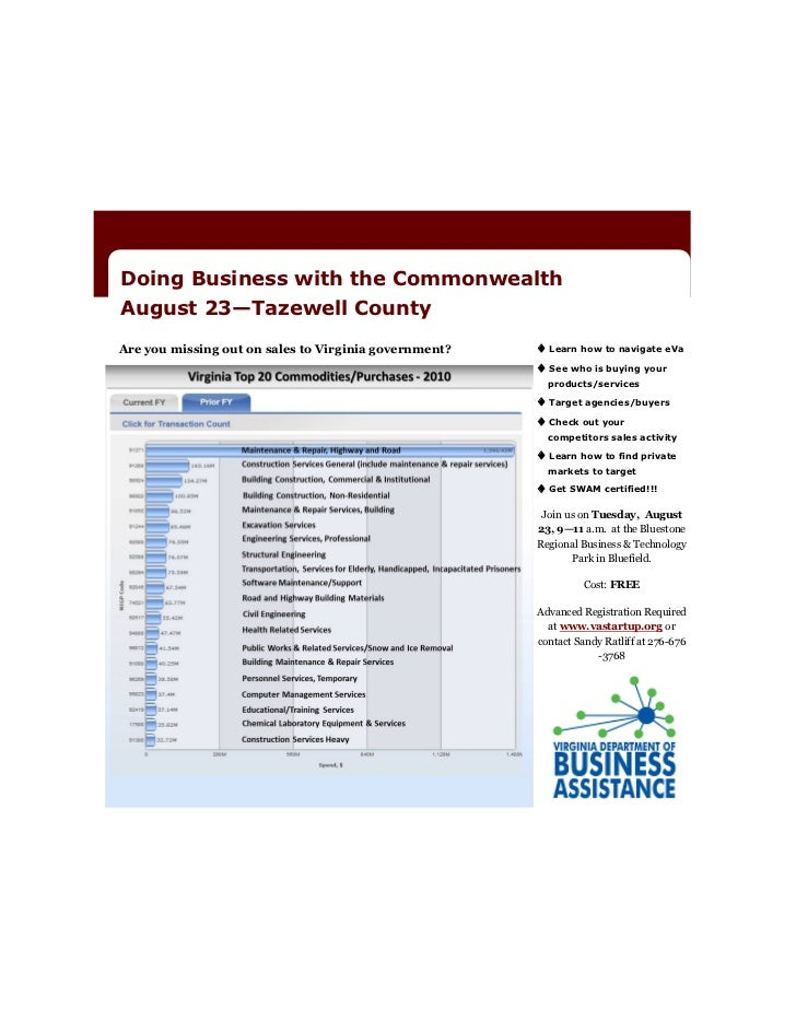 Doing Business with the CommonwealthAugust 23—Tazewell CountyAre you missing out on sales to Virginia government?    Lear...