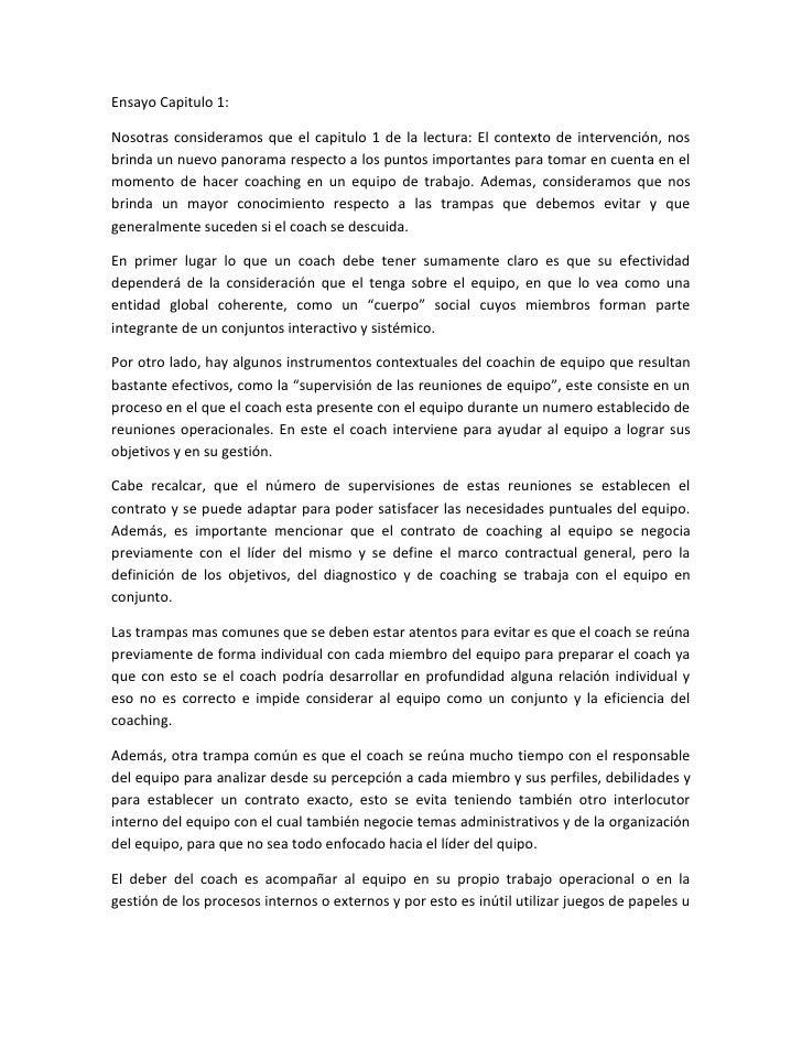 Ensayo Capitulo 1:Nosotras consideramos que el capitulo 1 de la lectura: El contexto de intervención, nosbrinda un nuevo p...