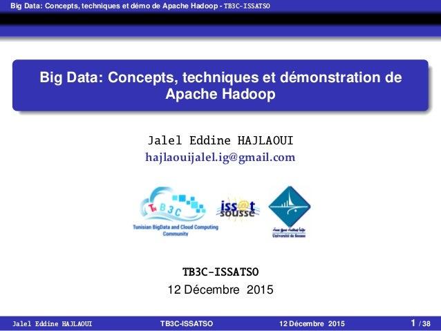 Big Data: Concepts, techniques et démo de Apache Hadoop - TB3C-ISSATSO Big Data: Concepts, techniques et démonstration de ...