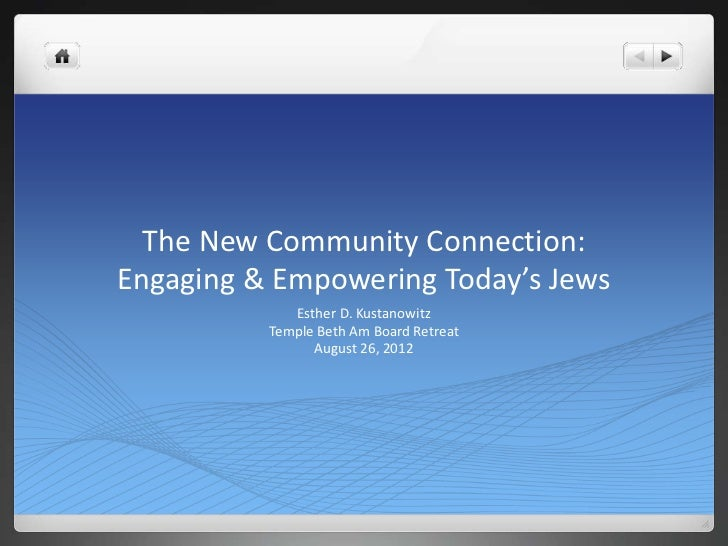 The New Community Connection:Engaging & Empowering Today's Jews             Esther D. Kustanowitz          Temple Beth Am ...