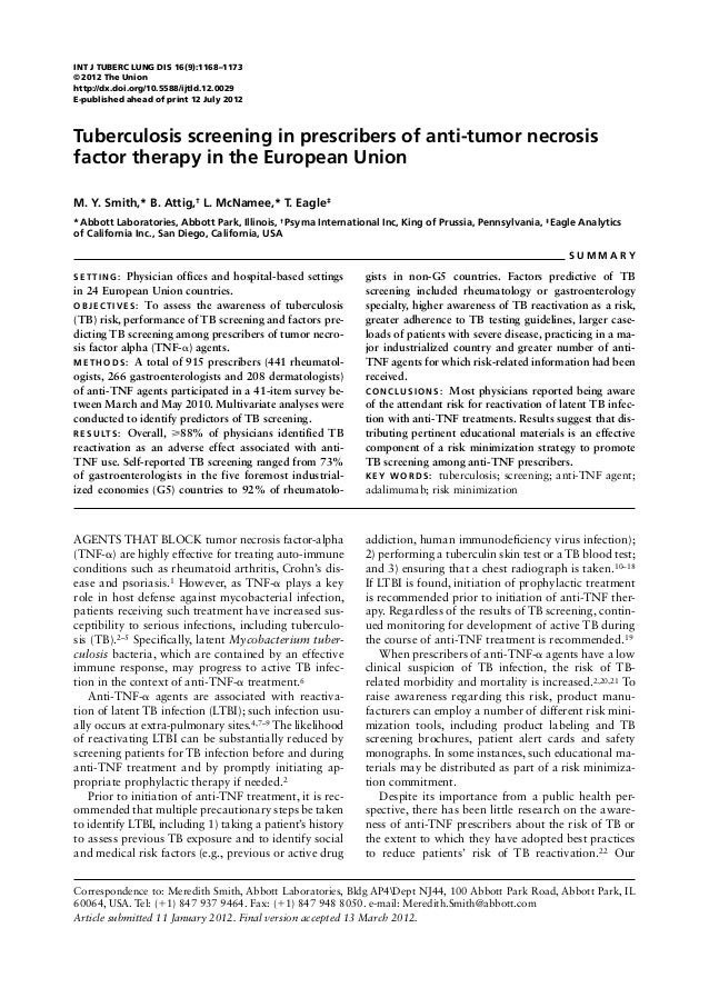 TB screening in prescribers of anti- TNF therapy in the EU