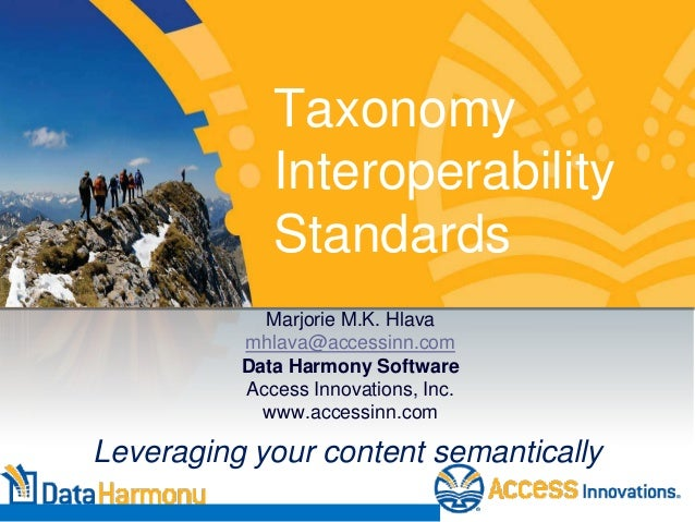 Taxonomy Interoperability Standards Marjorie M.K. Hlava mhlava@accessinn.com Data Harmony Software Access Innovations, Inc...