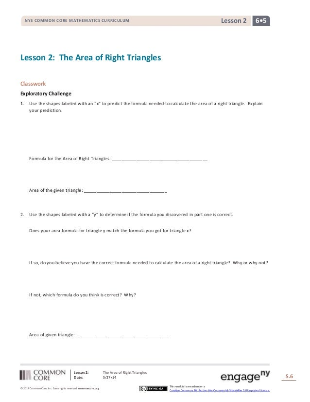 Lesson 2: The Area of Right Triangles Date: 5/27/14 S.6 6 © 2014 Common Core, Inc. Some rights reserved. commoncore.org Th...