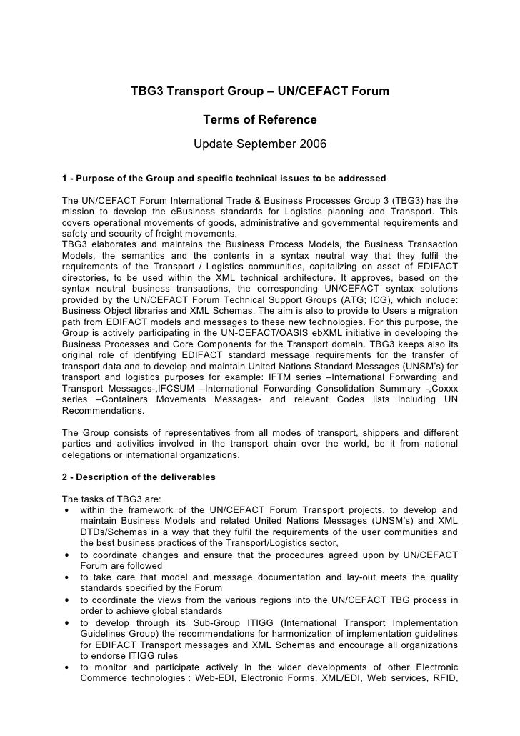 TBG3 Transport Group – UN/CEFACT Forum                                  Terms of Reference                              Up...