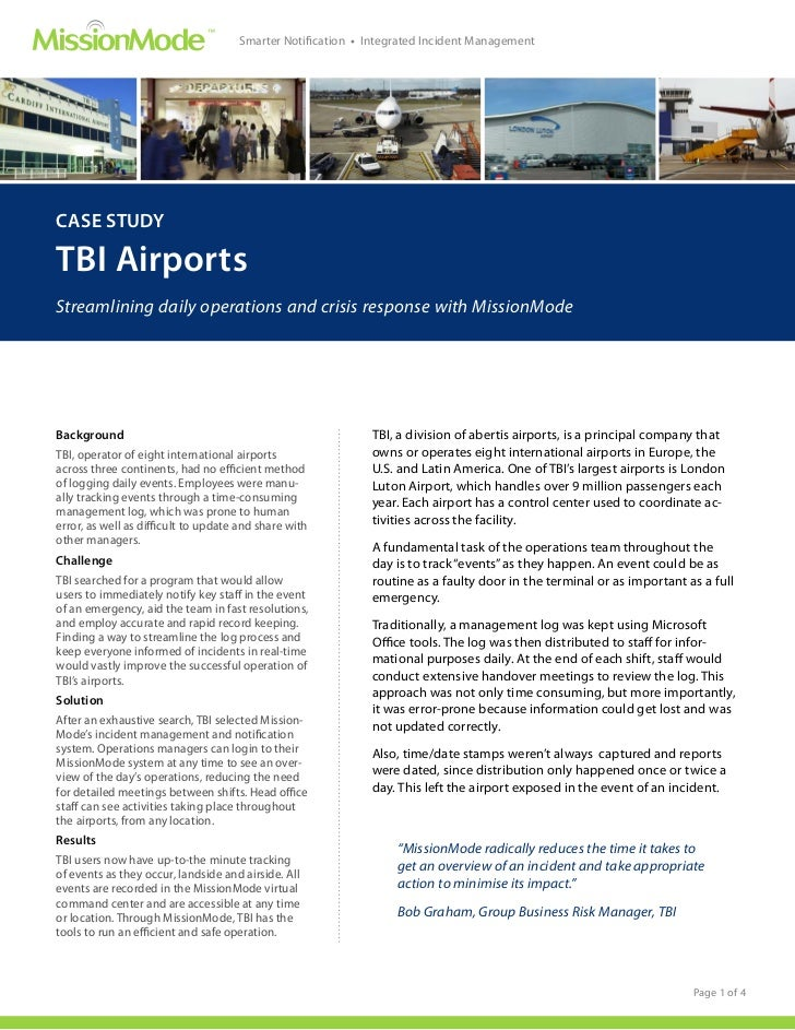 ™                                     Smarter Notification • Integrated Incident ManagementCASE STUDYTBI AirportsStreamlin...