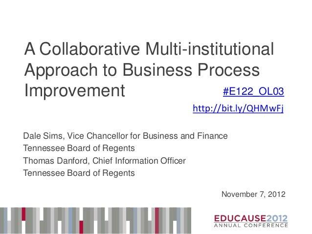 TBR Business Process Improvement EDUCAUSE12