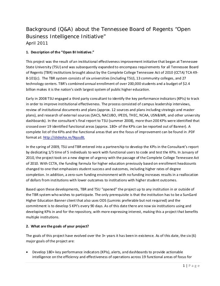 """Background (Q&A) about the Tennessee Board of Regents """"OpenBusiness Intelligence Initiative""""April 20111.Descriptionof..."""