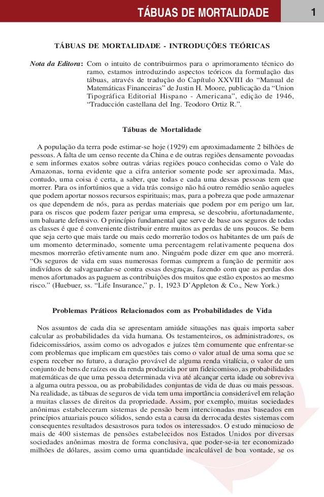 1TÁBUAS DE MORTALIDADE TÁBUAS DE MORTALIDADE - INTRODUÇÕES TEÓRICAS Nota da Editora: Com o intuito de contribuirmos para o...